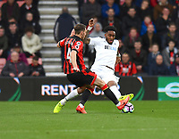 Bournemouth's Dan Gosling (L) battles with Swansea City's Leroy Fer (R)<br /> <br /> Bournemouth 2 - 0 Swansea<br /> <br /> Photographer David Horton/CameraSport<br /> <br /> The Premier League - Bournemouth v Swansea City - Saturday 18th March 2017 - Vitality Stadium - Bournemouth<br /> <br /> World Copyright &copy; 2017 CameraSport. All rights reserved. 43 Linden Ave. Countesthorpe. Leicester. England. LE8 5PG - Tel: +44 (0) 116 277 4147 - admin@camerasport.com - www.camerasport.com