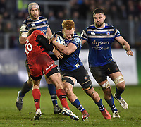 Miles Reid of Bath Rugby takes on the Saracens defence. Gallagher Premiership match, between Bath Rugby and Saracens on March 8, 2019 at the Recreation Ground in Bath, England. Photo by: Patrick Khachfe / Onside Images