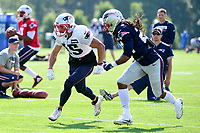 August 1, 2017: New England Patriots cornerback Stephon Gilmore (24) covers wide receiver Chris Hogan (15) at the New England Patriots training camp held at Gillette Stadium, in Foxborough, Massachusetts. Eric Canha/CSM