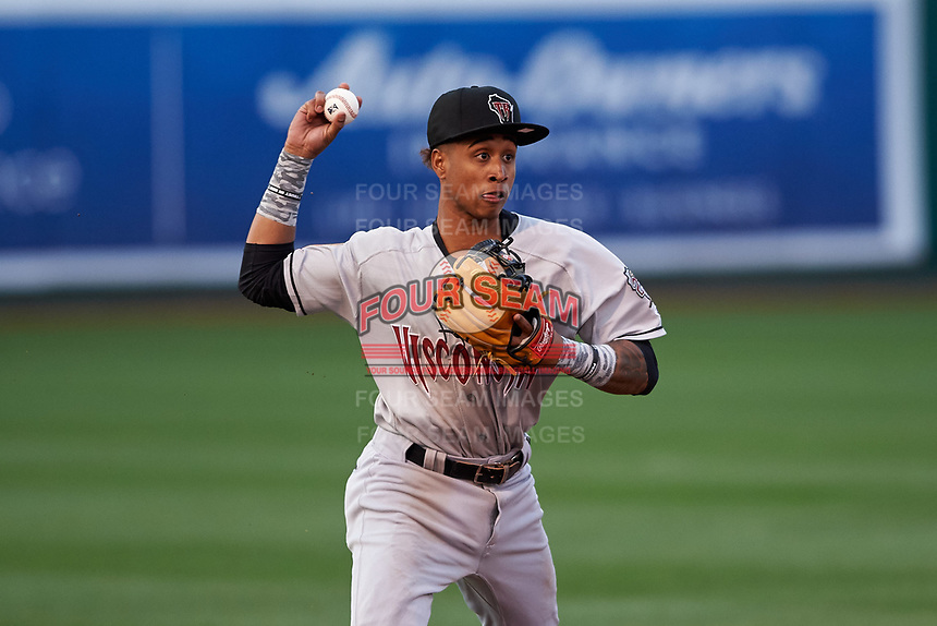 Wisconsin Timber Rattlers shortstop Yeison Coca (1) during a Midwest League game against the Lansing Lugnuts at Cooley Law School Stadium on May 1, 2019 in Lansing, Michigan. Wisconsin defeated Lansing 2-1 in the second game of a doubleheader. (Zachary Lucy/Four Seam Images)