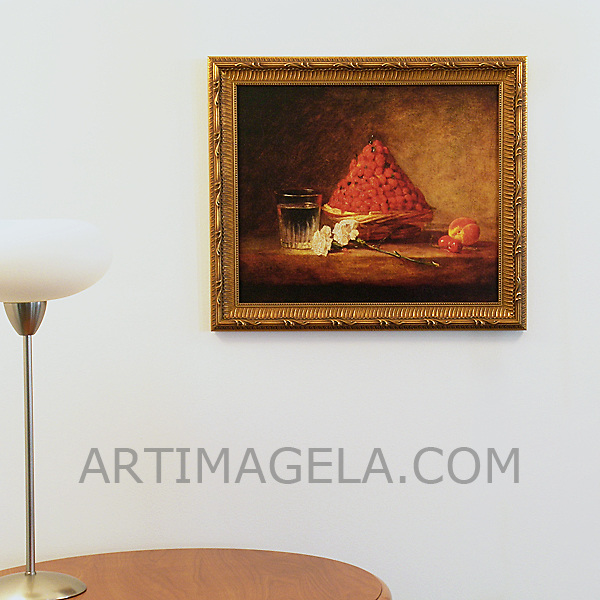 "Chardin: ""A Basket of Wild Strawberries"", Digital Print, Image Dims. 15"" x 18"", Framed Dims. 18.25"" x 21"""