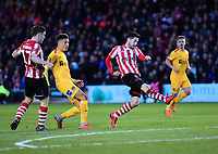 Lincoln City's Tom Pett watches as his shot hits the back of the net for Lincoln City's second goal<br /> <br /> Photographer Andrew Vaughan/CameraSport<br /> <br /> Emirates FA Cup First Round - Lincoln City v Northampton Town - Saturday 10th November 2018 - Sincil Bank - Lincoln<br />  <br /> World Copyright &copy; 2018 CameraSport. All rights reserved. 43 Linden Ave. Countesthorpe. Leicester. England. LE8 5PG - Tel: +44 (0) 116 277 4147 - admin@camerasport.com - www.camerasport.com