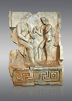 Roman Sebasteion relief  sculpture of Nysa and baby Dionysus Aphrodisias Museum, Aphrodisias, Turkey. <br /> <br /> The nymph Nysa has the baby Dionysus on her lap. He reaches out to a bunch of grapes held up by a satyr, one of his woodland followers. Dionysus was the son of Zeus by Semele, and was given the nymphs of Mt Nysa for an upbringing in the wilds, safe from the eyes of Hera, Zeus's wife. Nysa was located in the Meander Valley, near Aphrodisias: the story was local.