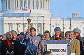 "Elie Wiesel, left, United States Representative Jack Kemp (Republican of New York), second left, and Rabbi David Saperstein, right, appear with former Soviet Refuseniks at the ""Campaign to the Summit"", a march on Washington, D.C. supporting freedom for Jews living in the Soviet Union, on Sunday, December 6, 1987. 200,000 people marched to focus attention on the repression of Soviet Jewry, was scheduled a day before US President Ronald Reagan and Soviet President Mikhail Gorbachev began a 2 day summit in Washington where they signed the Intermediate Range Nuclear Forces (INF) Treaty.<br />