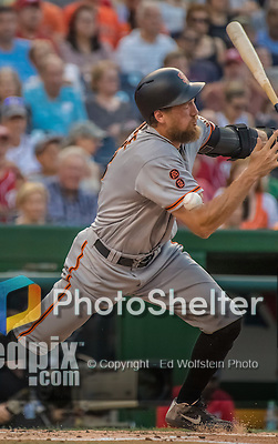6 August 2016: San Francisco Giants right fielder Hunter Pence fouls one off his cheekbone in the second inning against the Washington Nationals at Nationals Park in Washington, DC. The Giants defeated the Nationals 7-1 to even their series at one game apiece. Mandatory Credit: Ed Wolfstein Photo *** RAW (NEF) Image File Available ***
