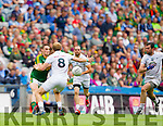 Stephen O'Brien, Kerry in action against Tommy Moolick, Kildare in the All Ireland Quarter Final at Croke Park on Sunday.