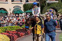DEL MAR, CA  SEPTEMBER 1:#4 Mother Mother, ridden by Joseph Talamo, in the paddock of the Del Mar Debutante (Grade 1) on September 1, 2018, at Del Mar Thoroughbred Club in Del Mar, CA.(Photo by Casey Phillips/Eclipse Sportswire/Getty ImagesGetty Images