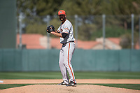 San Francisco Giants relief pitcher CJ Gettman (21) during a Minor League Spring Training game against the Oakland Athletics at Lew Wolff Training Complex on March 26, 2018 in Mesa, Arizona. (Zachary Lucy/Four Seam Images)