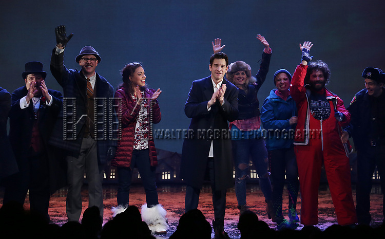 Barrett Doss and Andy Karl  with cast during the Broadway Opening Night Curtain Call Bows for 'Groundhog Day' at August Wilson Theatre on April 17, 2017 in New York City.