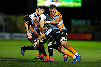 Shaun Venter of Ospreys is tackled by Aidon Davis of Cheetahs during the Guinness Pro 14 Round 7 match between Ospreys and Cheetahs at The Gnoll in Neath, Wales, UK. Saturday 30 November 2019
