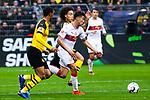 09.03.2019, Signal Iduna Park, Dortmund, GER, 1.FBL, Borussia Dortmund vs VfB Stuttgart, DFL REGULATIONS PROHIBIT ANY USE OF PHOTOGRAPHS AS IMAGE SEQUENCES AND/OR QUASI-VIDEO<br /> <br /> im Bild   picture shows:<br /> Nicolas Gonzalez (VfB Stuttgart #22) setzt sich gegen Axel Witsel (Borussia Dortmund #28) durch, <br /> <br /> Foto &copy; nordphoto / Rauch