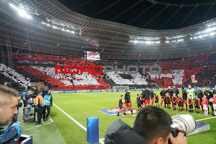 06.11.2019, BayArena, Leverkusen, Championsleague, Vorrunde, 4. Spieltag, GER, UEFA  CL, Bayer 04 Leverkusen (GER) vs. Atletiko Madrid (ESP),<br />  <br /> UEFA regulations prohibit any use of photographs as image sequences and/or quasi-video<br /> <br /> im Bild / picture shows: <br /> Choreo der Leverkusener<br /> <br /> Foto © nordphoto / Meuter<br /> <br /> <br /> <br /> Foto © nordphoto / Meuter