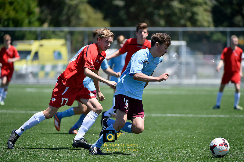 Football - National Age Group Tournament Mainland v F. South at Petone Memorial Park, Petone, Lower Hutt, New Zealand on Tuesday 15 December 2015.<br /> Photo by Masanori Udagawa. <br /> www.photowellington.photoshelter.com.