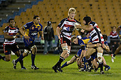 DJ Forbes looks for support from Jamie Chipman as he is taken in a tackle. Air New Zealand Cup rugby game played at Mt Smart Stadium, Auckland, between Counties Manukau Steelers & Otago on Thursday August 21st 2008..Otago won 22 - 8 after leading 12 - 8 at halftime.