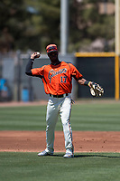 San Francisco Giants Orange third baseman Kelvin Beltre (17) during an Extended Spring Training game against the Seattle Mariners at the San Francisco Giants Training Complex on May 28, 2018 in Scottsdale, Arizona. (Zachary Lucy/Four Seam Images)