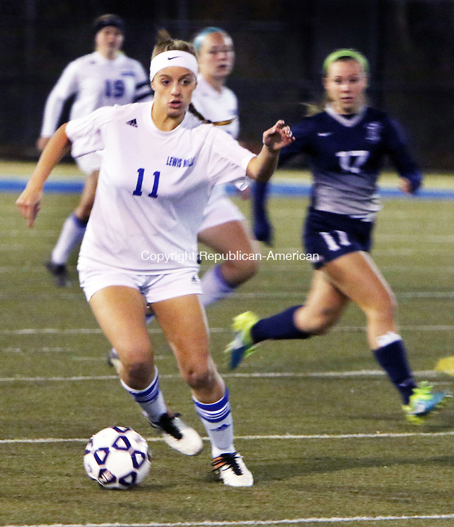 WATERBURY CT. 14 November 2016-110816SV09-#11 Chole Waldron of Lewis Mills takes a ball up field against Immaculate during CIAC Class M semifinals at Municipal Stadium in Waterbury Monday.<br /> Steven Valenti Republican-American
