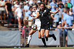 21 August 2016: Charlotte's Megan Greene (7) and North Carolina's Maggie Bill (left). The University of North Carolina Tar Heels hosted the University of North Carolina Charlotte 49ers in a 2016 NCAA Division I Women's Soccer match. UNC won the game 3-0