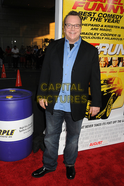 "Tom Arnold.""Hit and Run"" Los Angeles Premiere held at Regal Cinemas L.A. Live, Los Angeles, California, USA..August 14th, 2012.full length shirt jacket jeans denim black blue glasses   .CAP/ADM/BP.©Byron Purvis/AdMedia/Capital Pictures."
