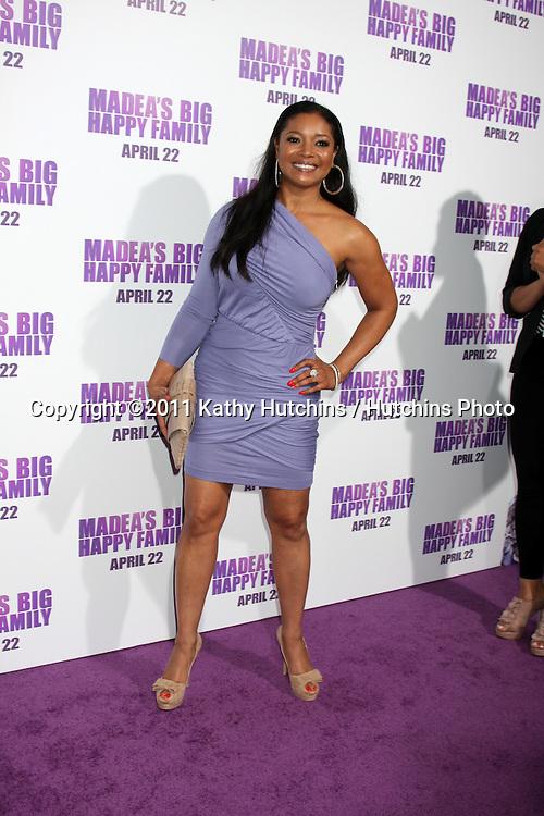 "LOS ANGELES - APR 19:  Tamala Jones arriving at the ""Madea's Big Happy Family"" Premiere at ArcLight Cinemas Cinerama Dome on April 19, 2011 in Los Angeles, CA.."