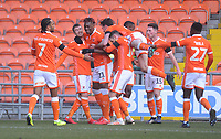 Blackpool's Chris Long (second left) celebrates scoring the opening goal with team-mates<br /> <br /> Photographer Kevin Barnes/CameraSport<br /> <br /> The EFL Sky Bet League One - Blackpool v Walsall - Saturday 9th February 2019 - Bloomfield Road - Blackpool<br /> <br /> World Copyright © 2019 CameraSport. All rights reserved. 43 Linden Ave. Countesthorpe. Leicester. England. LE8 5PG - Tel: +44 (0) 116 277 4147 - admin@camerasport.com - www.camerasport.com