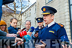 Garda Commissioner Drew Harris speaking to the press before the Joint Policing Committee meeting at County Buildings, Tralee on Friday.
