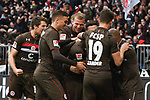 01.12.2018,  GER; 2. FBL, FC St. Pauli vs SG Dynamo Dresden ,DFL REGULATIONS PROHIBIT ANY USE OF PHOTOGRAPHS AS IMAGE SEQUENCES AND/OR QUASI-VIDEO, im Bild Jeremy Dudziak (Pauli #08) schiesst das Tor zum 1-0 fuer Pauli und jubelt mit der Mannschaft  Foto © nordphoto / Witke *** Local Caption ***