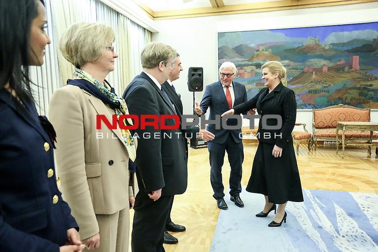 30.04.2015., Zagreb, Croatia - German Foreign Minister Frank Walter Steinmeier during his visit to Croatia met with President Kolinda Grabar-Kitarovic. <br /> <br /> Foto &copy;  nph / PIXSELL / Petar Glebov
