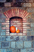 Pumpkin display at Castello di Amorosa. Napa Valley, California. Property relased