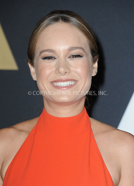 WWW.ACEPIXS.COM<br /> <br /> November 14 2015, LA<br /> <br /> Brie Larson arriving at the Academy of Motion Picture Arts and Sciences' 7th Annual Governors Awards at The Ray Dolby Ballroom at the Hollywood &amp; Highland Center on November 14, 2015 in Hollywood, California<br /> <br /> <br /> By Line: Peter West/ACE Pictures<br /> <br /> <br /> ACE Pictures, Inc.<br /> tel: 646 769 0430<br /> Email: info@acepixs.com<br /> www.acepixs.com