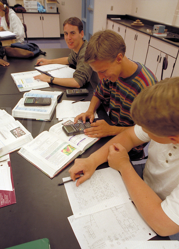 High school students in science classroom. High School Students. Rio Rancho New Mexico USA.