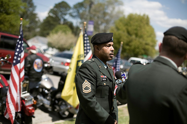 April 15, 2008. Wallace, NC..Funeral services were held for National Guard Staff Sgt. Emanuel Pickett at the 1st Baptist Church in Wallace, NC., where he was a police officer.. SSgt. Pickett was killed on April 6, 2008 in Baghdad, Iraq by indirect enemy fire. He was assigned to the 1132nd Military Police Company, North Carolina Army National Guard, Rocky Mount, N.C. and is the 8th North Carolina National Guard soldier killed in the wars in Iraq and Afghanistan.. Sergeant 1st Class Houston, a friend of SSgt. Pickett, speaks to the press.