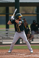 Oakland Athletics third baseman Javier Godard (6) at bat during a Minor League Spring Training game against the Chicago Cubs at Sloan Park on March 13, 2018 in Mesa, Arizona. (Zachary Lucy/Four Seam Images)