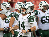 New York Jets quarterback Sam Darnold (14) prior to the game against the Washington Redskins at FedEx Field in Landover, Maryland on Thursday, August 16, 2018.<br /> Credit: Ron Sachs / CNP<br /> (RESTRICTION: NO New York or New Jersey Newspapers or newspapers within a 75 mile radius of New York City)