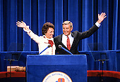 United States Vice President President Walter Mondale, right, and his wife, Joan, left, wave to the crowd after he delivered his speech accepting his party's nomination for reelection as Vice President of the United States at the 1980 Democratic National Convention in Madison Square Garden in New York, New York on August 13, 1980.<br /> Credit: Arnie Sachs / CNP