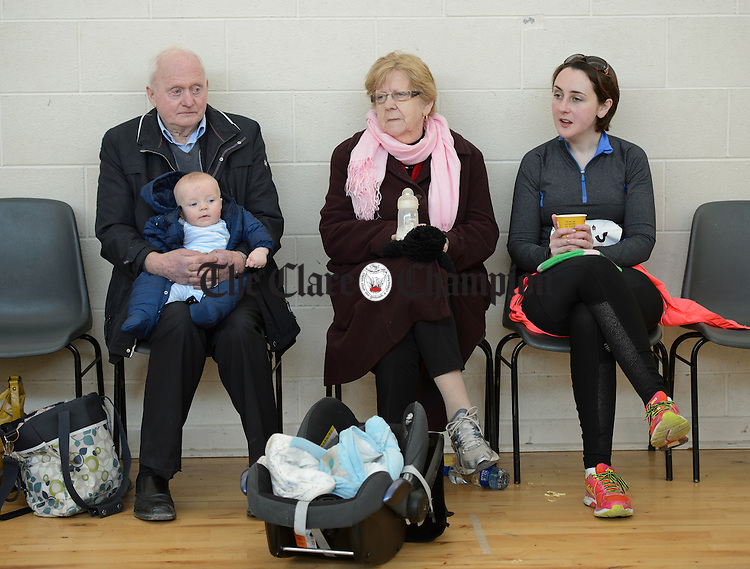 Baby Cillian Hurley with his grandparents Sean and Margaret Hurley as well as Orla Moloney at the Hurley-Hoey Memorial 10km run, walk and cycle which started at St Joseph's Doora Barefield complex at Gurteen. Photograph by John Kelly.