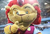 12th September 2017, Villa Park, Birmingham, England; EFL Championship football, Aston Villa versus Middlesbrough; Aston Villa mascot comes up close to say hello