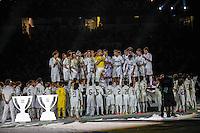 MADRI, ESPANHA, 13 DE MAIO 2012 - CAMPEONATO ESPANHOL - RODADA 38 - REAL MADRID X MALLORCA - Jogadores do Real Madrid celebram a conquista do Campeonato Espanho apos enfrentar o Mallorca em partida valida pela ultima rodada do Campeonato Espanhol, no Estadio Santiago Bernabeu em Madri capital da Espanha, neste domingo dia 13. (FOTO: WILLIAM VOLCOV / BRAZIL PHOTO PRESS).