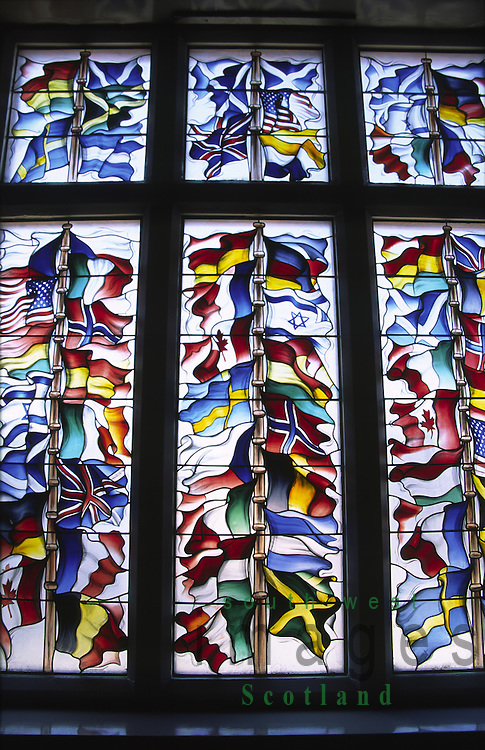Stained glass windows in Lockerbie town hall representing all the nationalities of all those who died on Pan Am flight 103