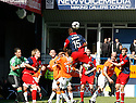 Michael Rankine of York City heads on during the Blue Square Premier play-off semi-final 2nd leg  match between Luton Town and York City at Kenilworth Road, Luton on Monday 3rd May, 2010..© Kevin Coleman 2010 ..