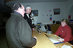 Shaun Lynch and Frank McAvinue handing in the petition in support of Dr. Muldoon to reception at Our Lady of Lourdes Hospital on Saturday..Picture Paul Mohan Newsfile