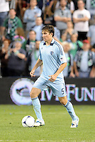 Matt Besler (5) Sporting KC defender in action... Sporting Kansas City defeated New England Revolution 3-0 at LIVESTRONG Sporting Park, Kansas City, Kansas.