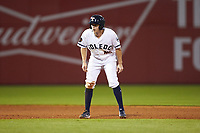 Jason Krizan (14) of the Toledo Mud Hens takes his lead off of second base against the Louisville Bats at Fifth Third Field on June 16, 2018 in Toledo, Ohio. The Mud Hens defeated the Bats 7-4.  (Brian Westerholt/Four Seam Images)