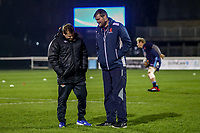 London Scottish and Ealing Trailfinders Coaches chat ahead of the Championship Cup match between London Scottish Football Club and Ealing Trailfinders at Richmond Athletic Ground, Richmond, United Kingdom on 23 November 2018. Photo by David Horn/PRiME Media Images