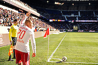 Joel Lindpere (20) of the New York Red Bulls about to take a corner kick during the 1st leg of the Major League Soccer (MLS) Western Conference Semifinals against the Los Angeles Galaxy at Red Bull Arena in Harrison, NJ, on October 30, 2011.