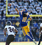 BROOKINGS, SD - NOVEMBER 5:  Connor Landberg #18 from South Dakota State has the ball go off his fingertips in front of Darius Daniel #24 form Missouri State in the first half Saturday afternoon at Dana J. Dykhouse Stadium in Brookings. (Photo by Dave Eggen/Inertia)