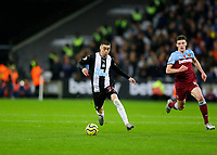 2nd November 2019; London Stadium, London, England; English Premier League Football, West Ham United versus Newcastle United; Miguel Almiron of Newcastle United  - Strictly Editorial Use Only. No use with unauthorized audio, video, data, fixture lists, club/league logos or 'live' services. Online in-match use limited to 120 images, no video emulation. No use in betting, games or single club/league/player publications