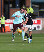 30th September 2017, Dens Park, Dundee, Scotland; Scottish Premier League football, Dundee versus Hearts; Hearts' Kyle Lafferty and Dundee's Jack Hendry