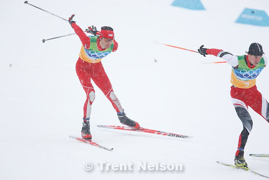 Trent Nelson  |  The Salt Lake Tribune.Team 4x5km Nordic Combined on the cross country track at the Whistler Olympic Park, XXI Olympic Winter Games in Whistler, Tuesday, February 23, 2010. johnny spillane