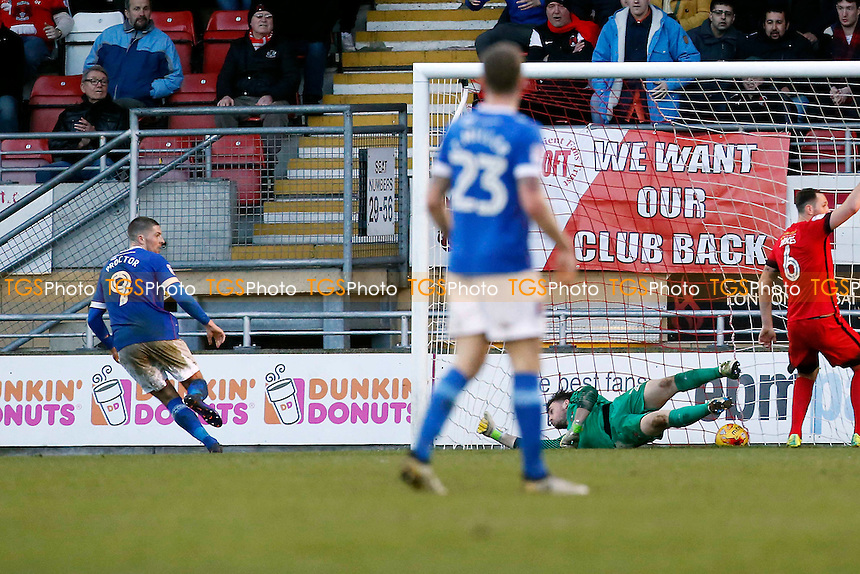 Carlisle's Jamie Proctor scores the winner to make it 1.2 during Leyton Orient vs Carlisle United, Sky Bet EFL League 2 Football at the Matchroom Stadium on 4th February 2017