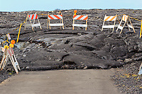 Civil Defense traffic barricades mark the county viewing area for lava flow visitors on the Big Island.